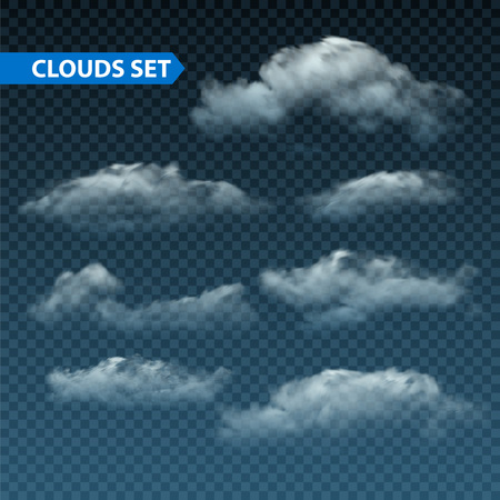 cloudy night sky: Collection of  isolated realistic transparent night clouds. Vector illustration EPS10 Illustration