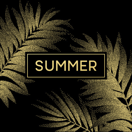 Tropical palm leaves design for text card. Vector illustration EPS10 Иллюстрация