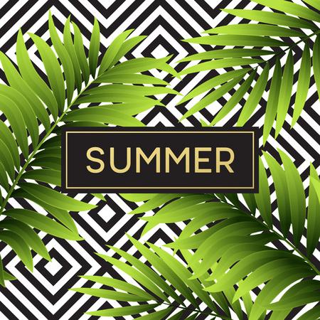 Tropical monstera leaves design for text card. Vector illustration EPS10