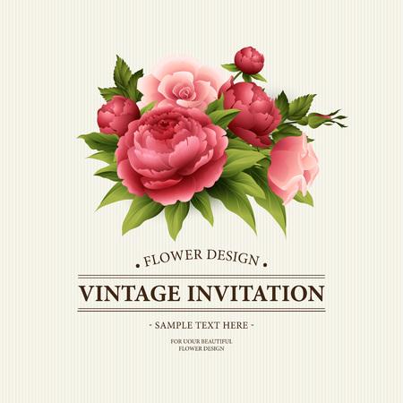 Uitstekende kaart met Bloeiende pioen en nam bloemen Groet. Vector Illustration EPS10 Vector Illustratie