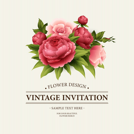 flower borders: Vintage  Greeting Card with Blooming peony and rose Flowers.  Vector Illustration EPS10