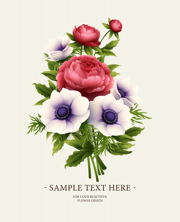 Greeting card with anemone and peony flower. Vector illustration EPS10 Çizim