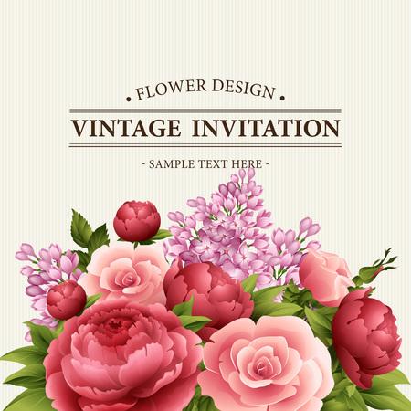 花と花のフレーム。牡丹、ローズ、ライラックの花の花束。花を持つヴィンテージのグリーティング カード。水彩の繁栄の境界線。花の背景。ベク  イラスト・ベクター素材