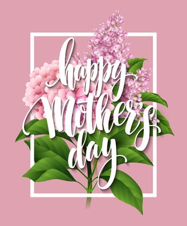 Feliz tarjeta de letras Día de la Madre. Greetimng tarjeta con flor. Ilustración del vector EPS 10