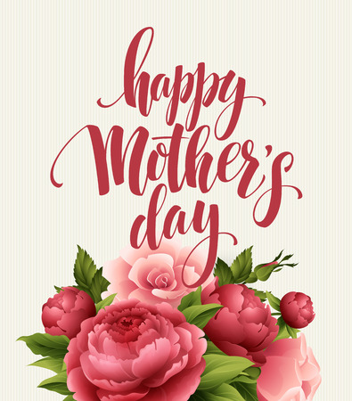 text pink: Happy Mothers Day Lettering card. Greetimng card with flower. Vector illustration EPS 10 Illustration