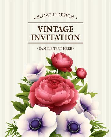 Tarjeta de felicitación con la anémona y flores de peonía. ilustración vectorial EPS10 Foto de archivo - 53927090