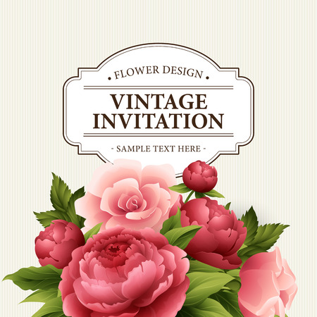 Vintage  Greeting Card with Blooming peony and rose Flowers.  Vector Illustration EPS10