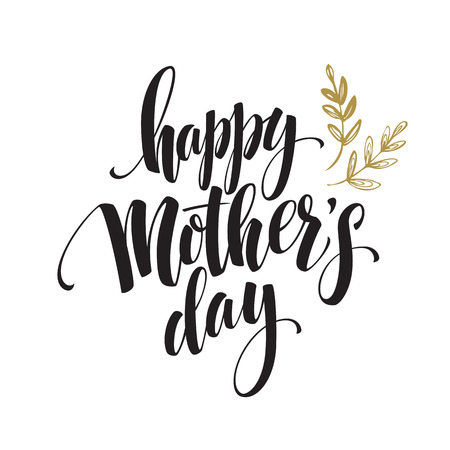 colden: Happy Mothers Day Hand-drawn Lettering  card.  Vector illustration EPS 10