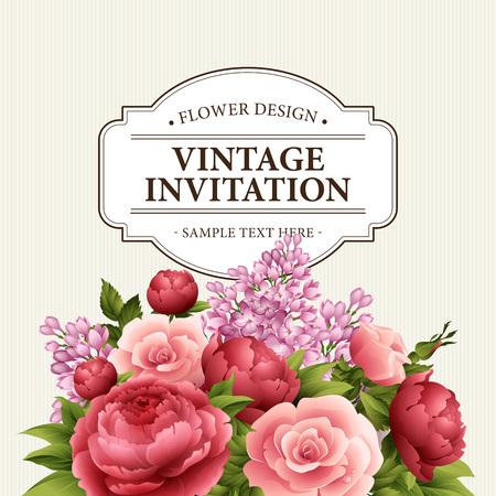 Bloemen frame met bloemen. Bloemen boeket met pioen, roze en lila. Vintage kaart met bloemen Groet. Watercolor floreren grens. Bloemen achtergrond. Vector illustratie EPS10