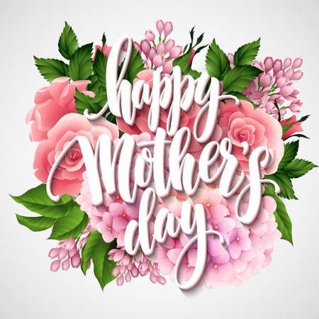 幸せな母の日のレタリング カード。花と Greetimng カード。ベクトル イラスト EPS 10