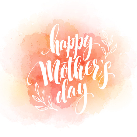 Happy Mothers Day Hand-drawn Lettering  card.  Vector illustration EPS 10