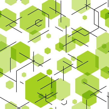 hexahedron: Green hexahedron seamless pattern background. Vector illustration EPS10 Illustration