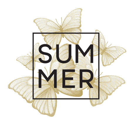butterflies for decorations: Butterflies. Summer. Stipple illustration with space for text. Vector illustration EPS10 Illustration