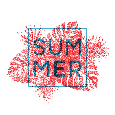 spiaggia: Monstera Tropical lascia progettazione per la scheda di testo. Vector illustration EPS10 Vettoriali