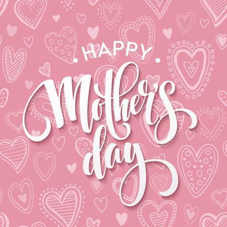Glücklicher Mutter-Tag-Beschriftung. Mutter-Tagesgrußkarte. Vektor-Illustration EPS10