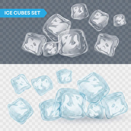 solid: Set of four transparent ice cubes. Vector illustration EPS10 Illustration