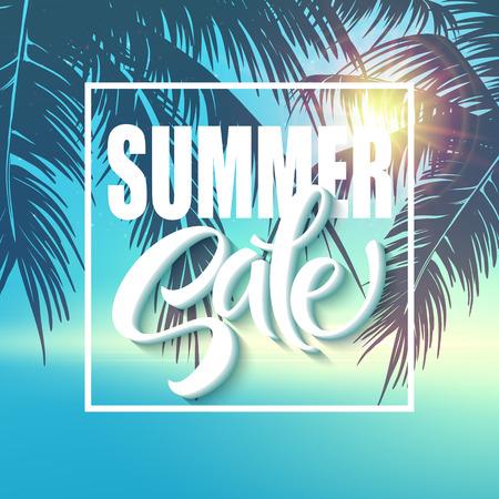 青の背景に夏販売レタリング。ベクトル図 EPS10
