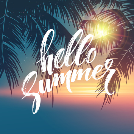 Hello summer  background. Tropical palm leaves pattern, handwriting lettering. Palm Tree branches. Tropic paradise backdrop. Vector illustration EPS10 Vettoriali