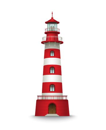 Realistische rode vuurtoren gebouw op een witte achtergrond. Vector illustratie EPS10