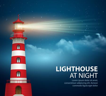夜の空の背景に現実的な灯台。ベクトル図 EPS10  イラスト・ベクター素材