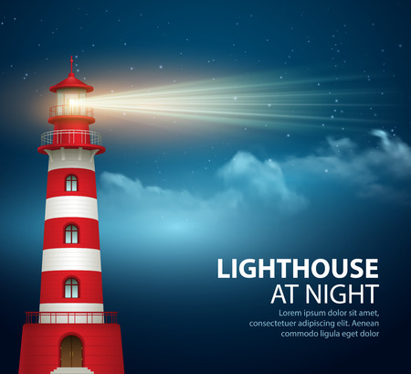 lighthouse at night: Realistic lighthouse  in the night sky background. Vector illustration EPS10