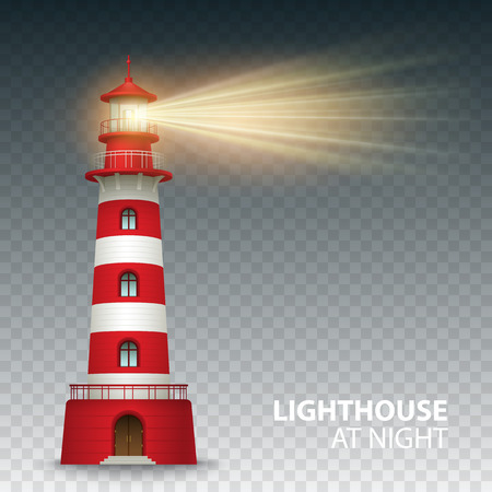 MARITIME: Realistic red lighthouse building isolated on white background. Vector illustration EPS10