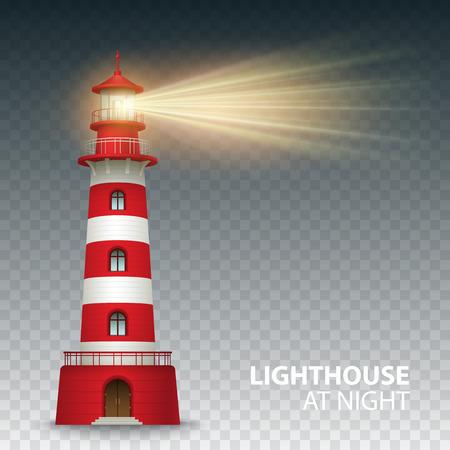 rot: Realistische roten Leuchtturm Gebäude auf weißem Hintergrund. Vektor-Illustration EPS10 Illustration