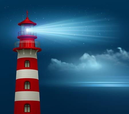 밤 하늘 배경에 현실적인 등 대입니다. 벡터 일러스트 레이 션 EPS10 일러스트