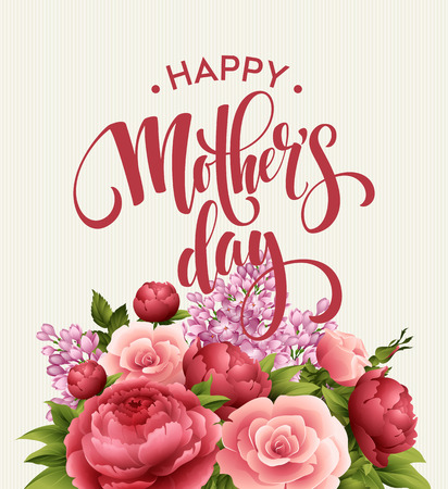 Happy Mothers Day Lettering card. Greetimng card with flower. Vector illustration EPS 10  イラスト・ベクター素材