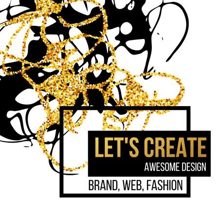 黄金の手描きデザイン要素です。ポスター、チラシ、ブランド、パンフレットのベクトル テンプレート。金、黒、白背景、パターン、テクスチャ、  イラスト・ベクター素材