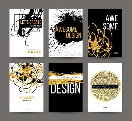 Een reeks brochures met gouden hand getekende ontwerp elementen. Vector brochure templates, posters, flyers, merk. Gouden, zwart, wit achtergronden, patronen, texturen en elementen. Vector illustratie EPS10