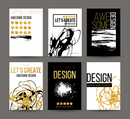 A set of brochures with golden hand-drawn design elements. Vector brochure templates, posters, flyers, brand. Golden, black, white backgrounds, patterns, textures and elements. Vector illustration EPS10 向量圖像