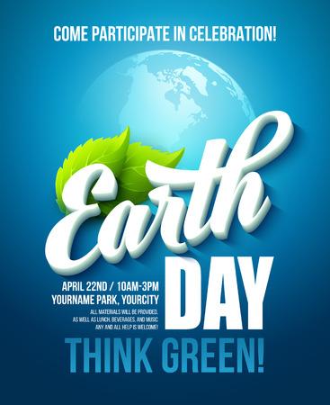 Cartel del Día de la Tierra. Ilustración del vector con las letras Día de la Tierra, los planetas y las hojas verdes. EPS10