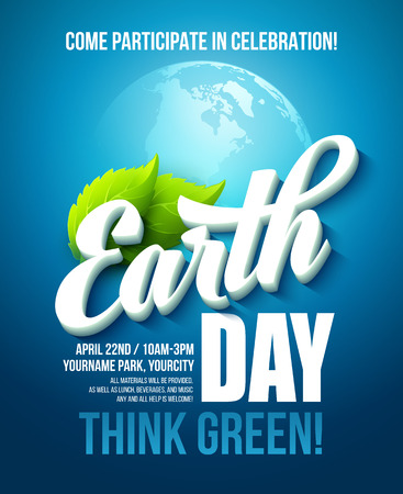 Plakat Dzień Ziemi. ilustracji wektorowych z napisem Dzień Ziemi, planety i zielonych liści. EPS10