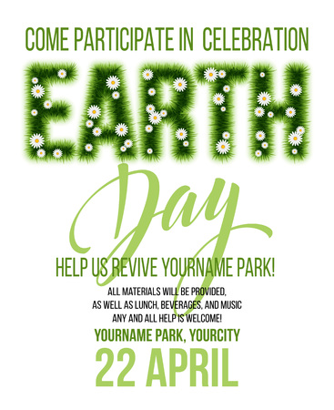 Earth Day poster. Vector illustration with the Earth day grass lettering EPS10 Illustration