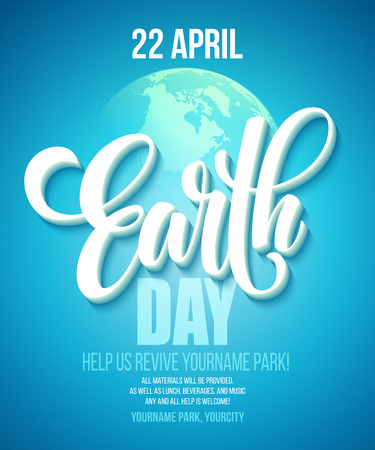 earth day: Earth Day poster. Vector illustration with the Earth day lettering, planets and green leaves. EPS10