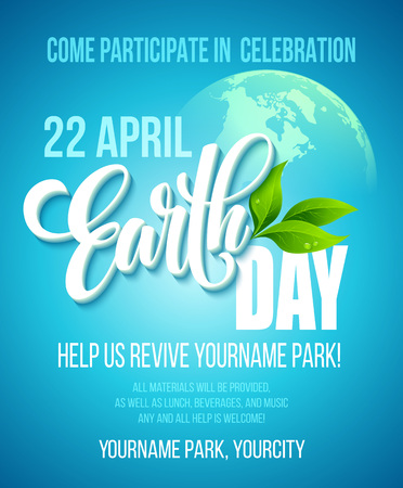 earth logo: Earth Day poster. Vector illustration with the Earth day lettering, planets and green leaves. EPS10