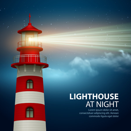searchlight: Realistic lighthouse  in the night sky background. Vector illustration EPS10