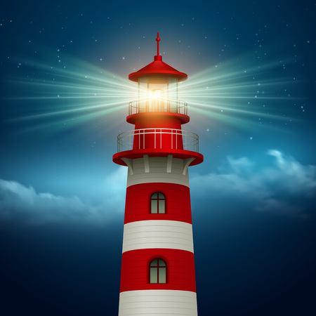 Realistic lighthouse  in the night sky background. Vector illustration EPS10