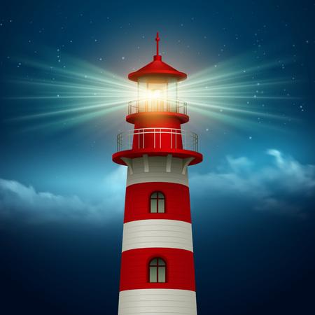 Realistyczne latarni w tle nocnego nieba. Ilustracji wektorowych EPS10