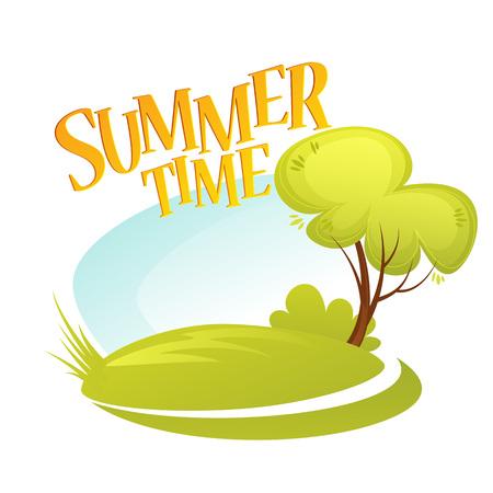 summer cartoon: Cartoon Summer Landscape Background. Summer tree. Vector illustration EPS10 Illustration