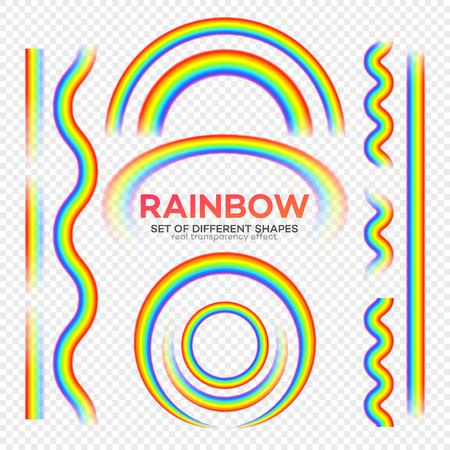 Rainbows different shape set. Real Rainbow transparency effect.  Vector illustration EPS10 Иллюстрация