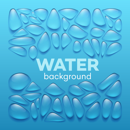 Water drops on blue background. Vector illustration EPS10