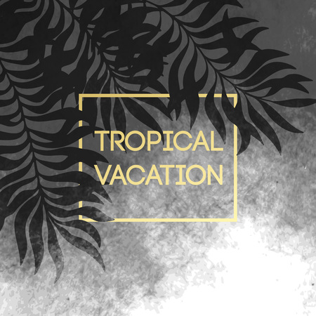 palm trees: Summer tropical background of palm leaves and golden text and frame.  Vector illustration EPS10