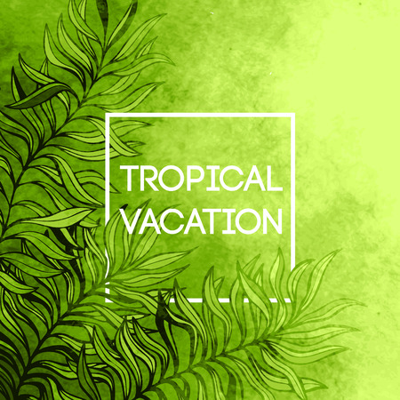 caribbean beach: Watercolor  tropical palm tree leaf background. Tropical vacation design. Vector illustration EPS10 Illustration