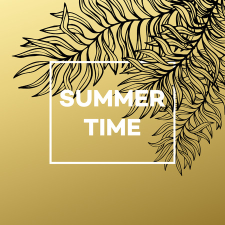 gold leaf: Summer tropical background of palm leaves and golden text and frame.  Vector illustration EPS10