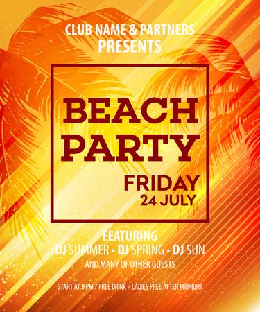 Hello Summer Beach Party Flyer. Vector Design EPS10