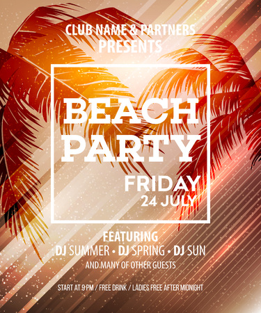 Hello Summer Beach Party Flyer. Vector Design EPS10