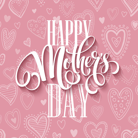 Mothers day lettering card with pink seamless background and handwritten text message. Vector illustration EPS10 Çizim