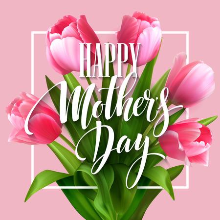 해피 어머니의 날 레터링. 피 튤립 꽃과 어머니의 날 인사말 카드입니다. 벡터 일러스트 레이 션 EPS10